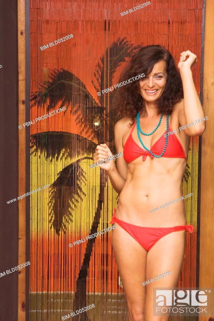 Stock Photo: Mature woman wearing bikini.