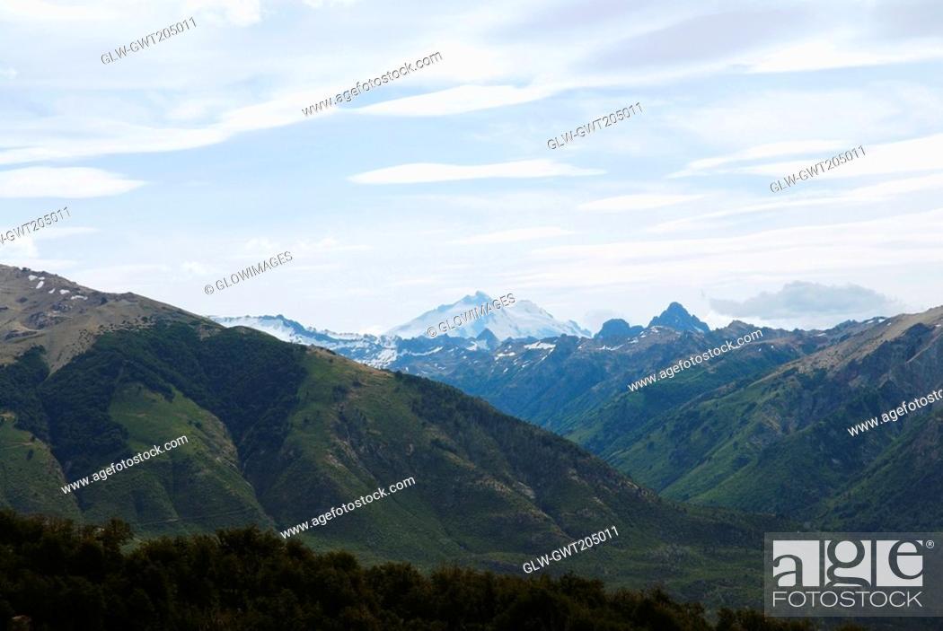 Stock Photo: Panoramic view of mountains, San Carlos De Bariloche, Argentina.