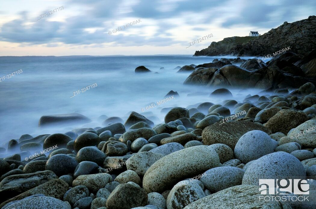 Stock Photo: Small white house at the Pointe du Millier in Brittany, France.