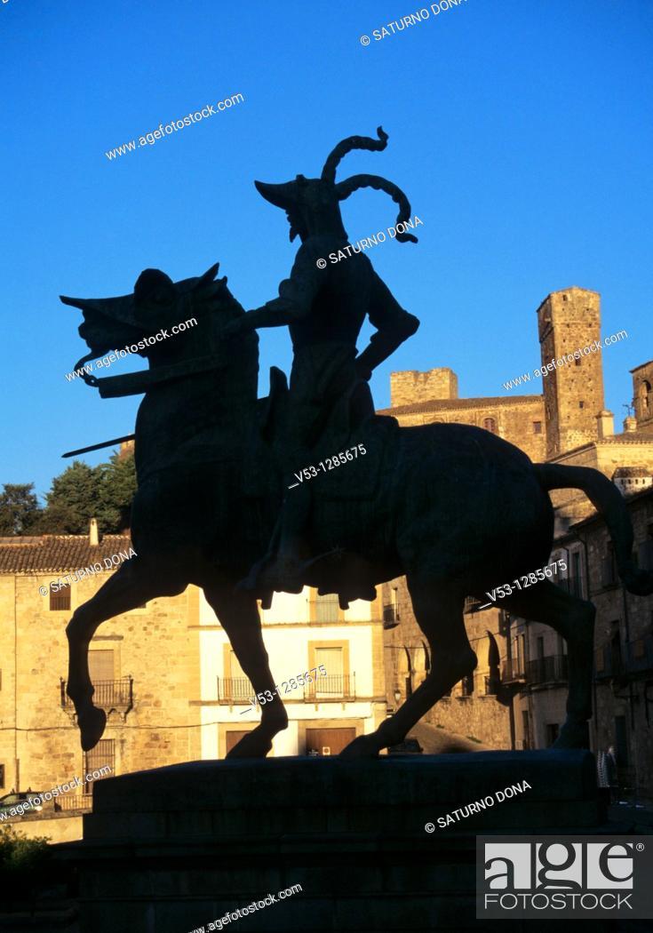 Stock Photo: Francisco Pizarro monument at dusk - Trujillo - Extremadura - Spain.