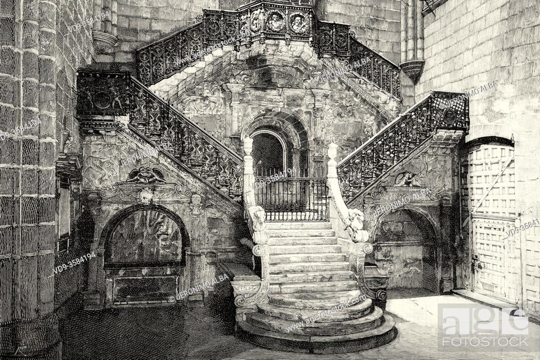 Stock Photo: Cathedral of Saint Mary. Renaissance Golden staircase by Diego de Siloé, Burgos, Castile and Leon. Spain, Europe. Old XIX century engraved illustration from La.