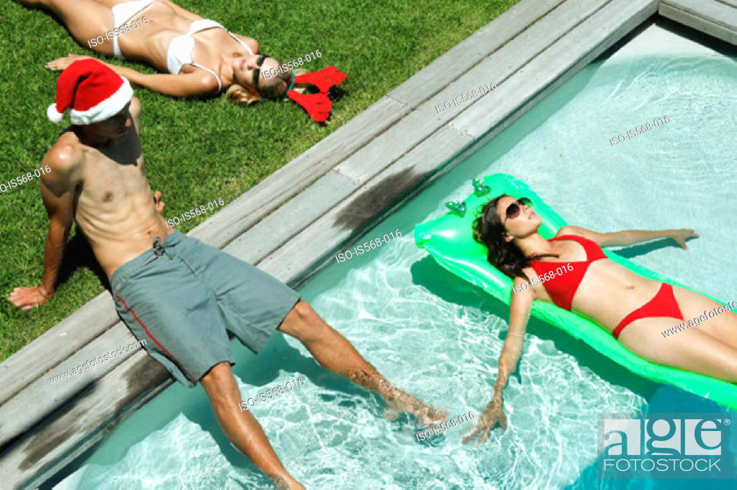 Stock Photo: Christmas by the swimming pool.
