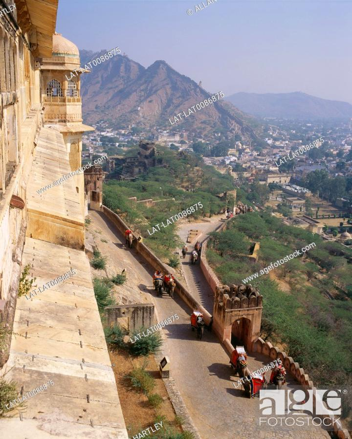 Stock Photo: The Amber Fort is located in Amber, 11 km from Jaipur. Built over the remnants of an earlier structure, the hilltop palace complex which stands to this date was.