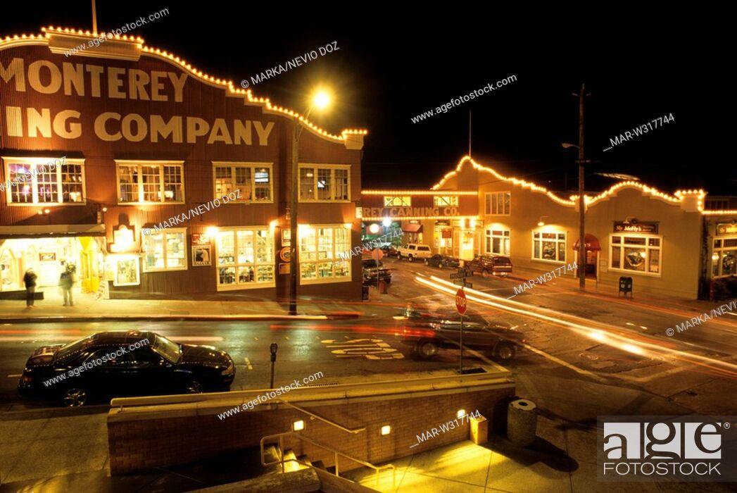 Stock Photo Restaurants In The Ex Factory Portola Cannery Row Monterey California