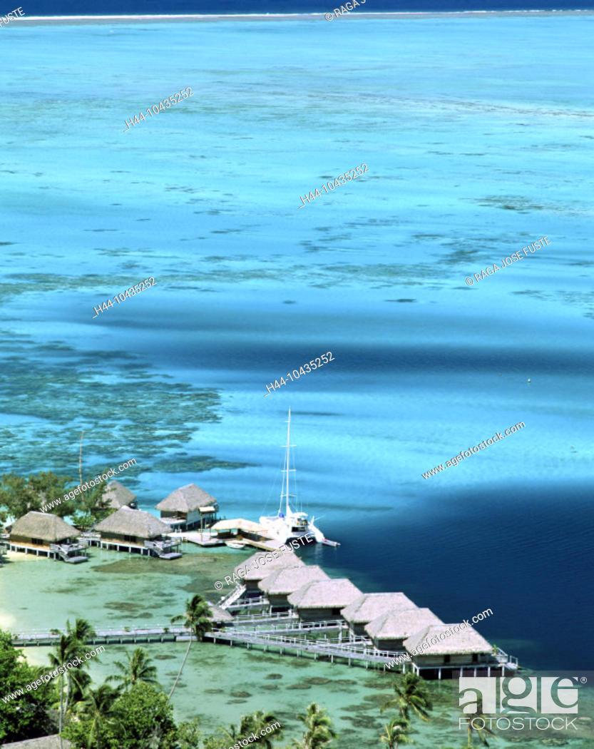 Stock Photo: 10435252, Bora Bora islands, isles, Pacific, huts, lagoon, Raiti Point, footbridge, beach, seashore, overview,.