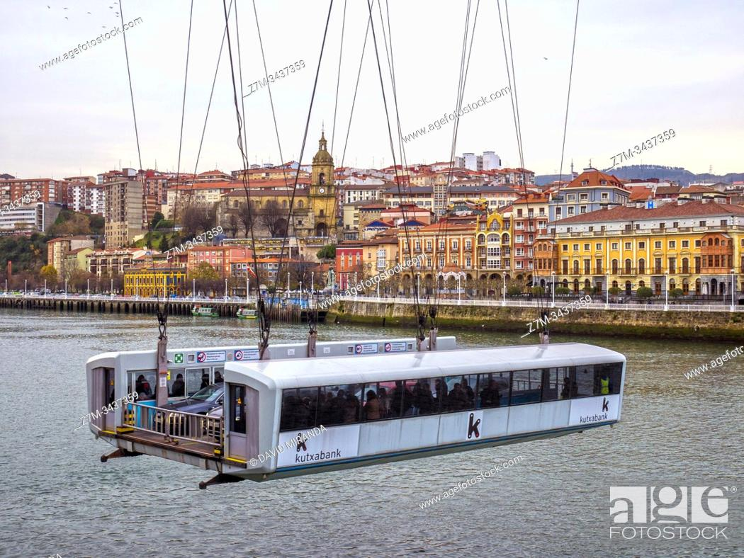 Stock Photo: Puente Colgante de Bizkaia with Portugalete in background. Biscay, Basque Country, Spain.