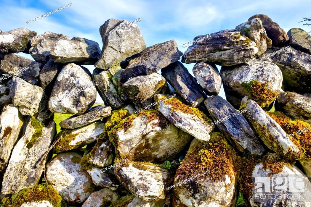 Stock Photo: Close up of a an irish dry stone wall.