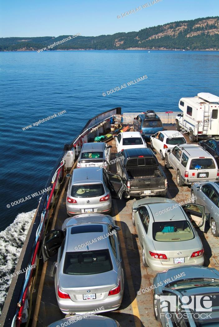 Stock Photo: view from a ferry toward Galiano Island, British Columbia, Canada.
