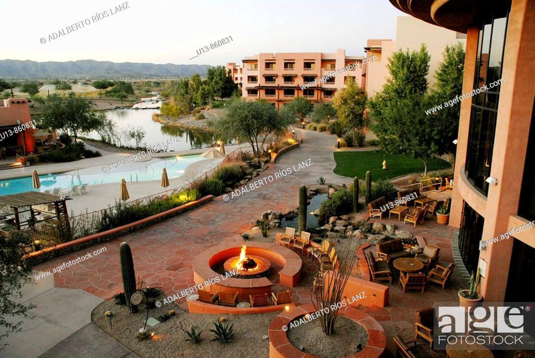 Stock Photo: Sunset at Sheraton Wild Horse Pass Resort & Spa, Phoenix, Arizona, United States.