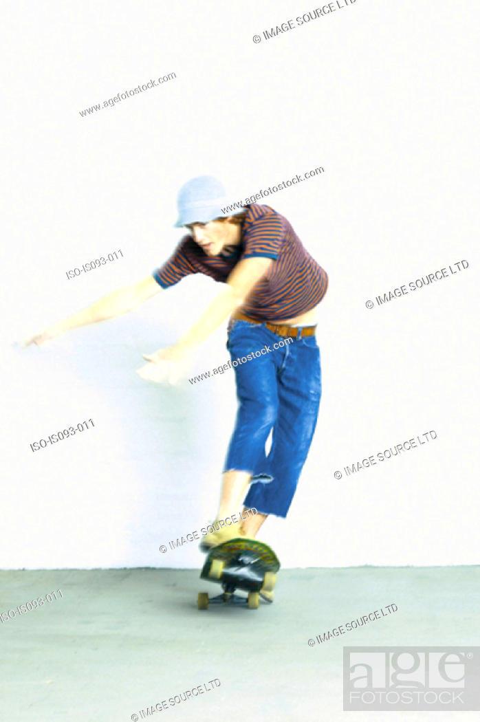 Stock Photo: Man skateboarding.