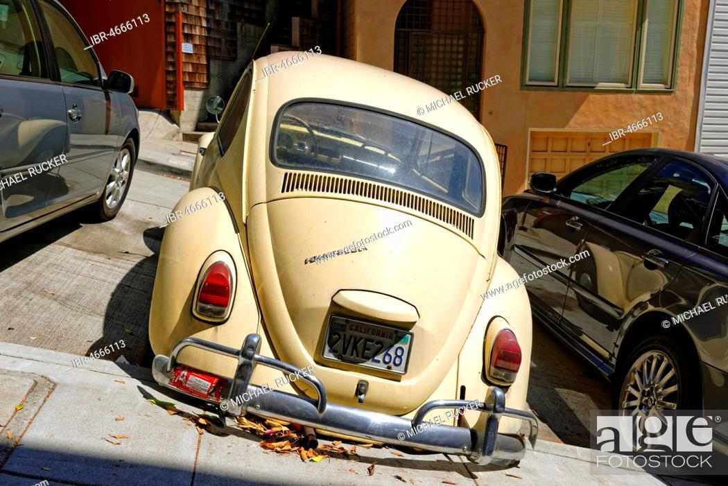 old vw beetle san francisco california usa north america parked at an angle on a steep road stock photo picture and rights managed image pic ibr 4666113 agefotostock https www agefotostock com age en stock images rights managed ibr 4666113