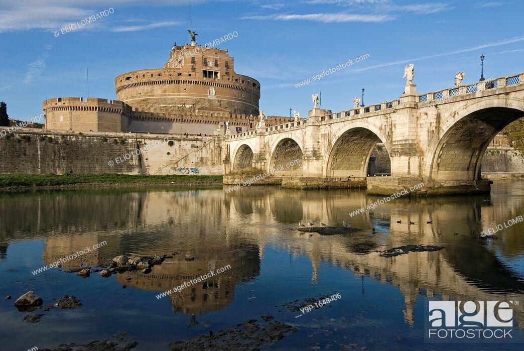 Stock Photo: St  Angel Bridge and St  Angel Castle, Rome, Latium, Italy.