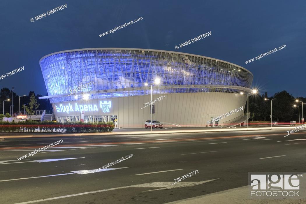 Stock Photo: Park Arena Sports Complex at night, Burgas, Bulgaria.