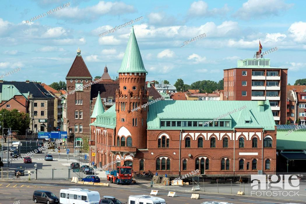 Stock Photo: Historic train station at the ferry terminal, long-distance trains Berlin-Malmö by ferry to Sassnitz, Trelleborg, Scania, Sweden.