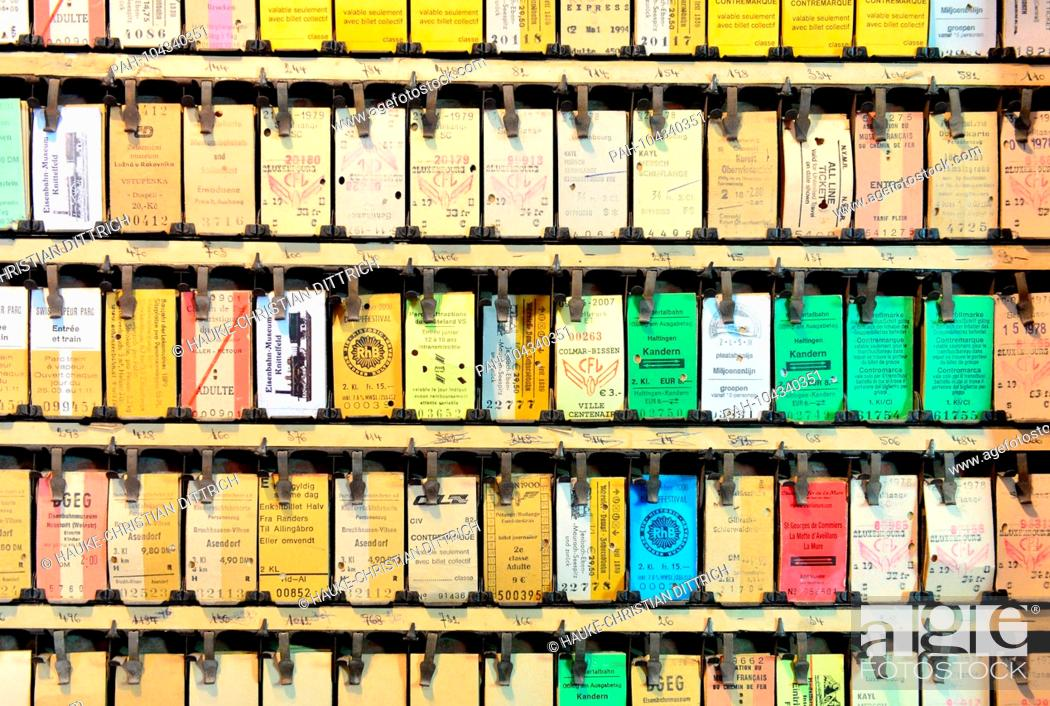 Stock Photo: Colorful Tickets from different museum railways at the Minett Park Fond-de-Gras near Niedercorn (Luxemburg), 06 May 2018. | usage worldwide.