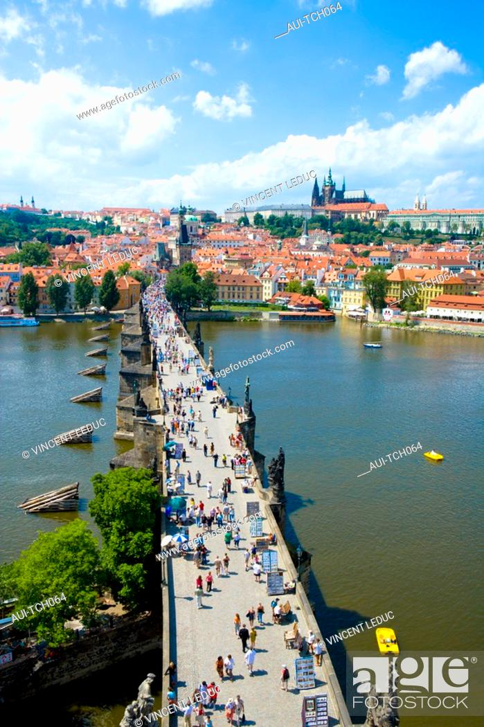 Stock Photo: Czech Republic - Prague - Mala Strana Prague 1 District - View of Charles Bridge Karluv Most and of Hradcany and of the royal castle.