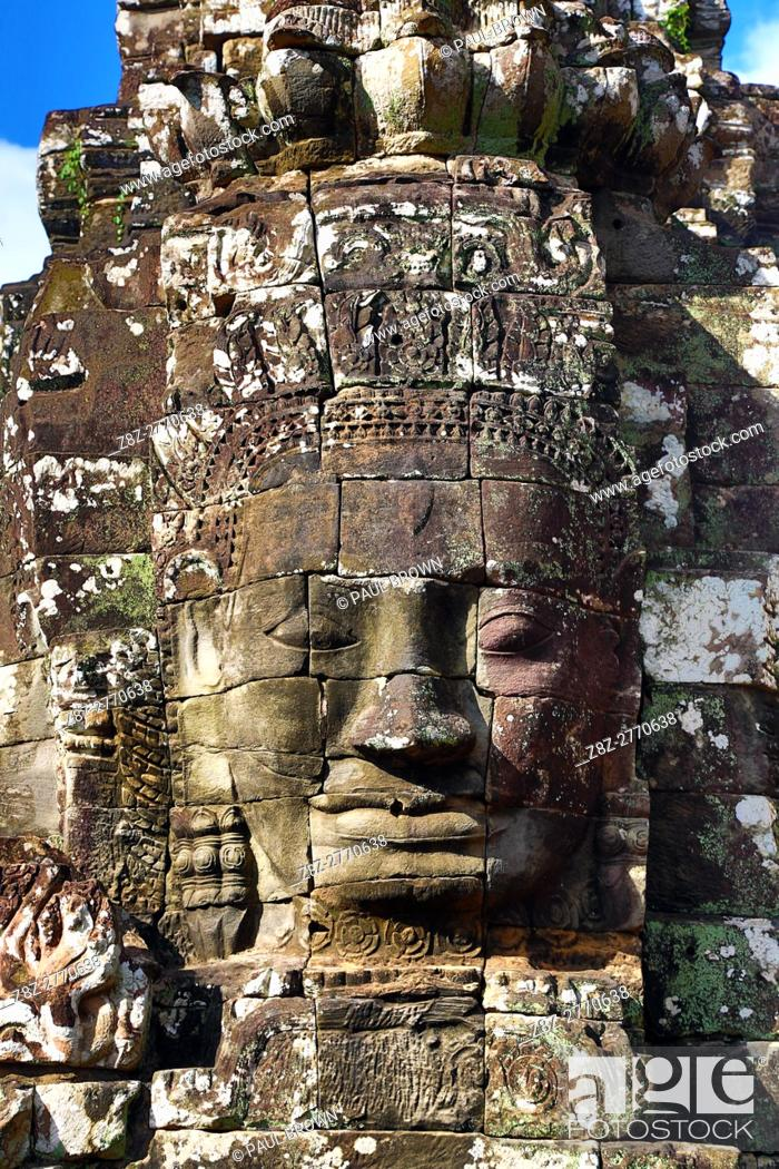 Stock Photo: Stone face in the ruins of the Bayon Khmer Temple, Angkor Thom , Siem Reap, Cambodia.