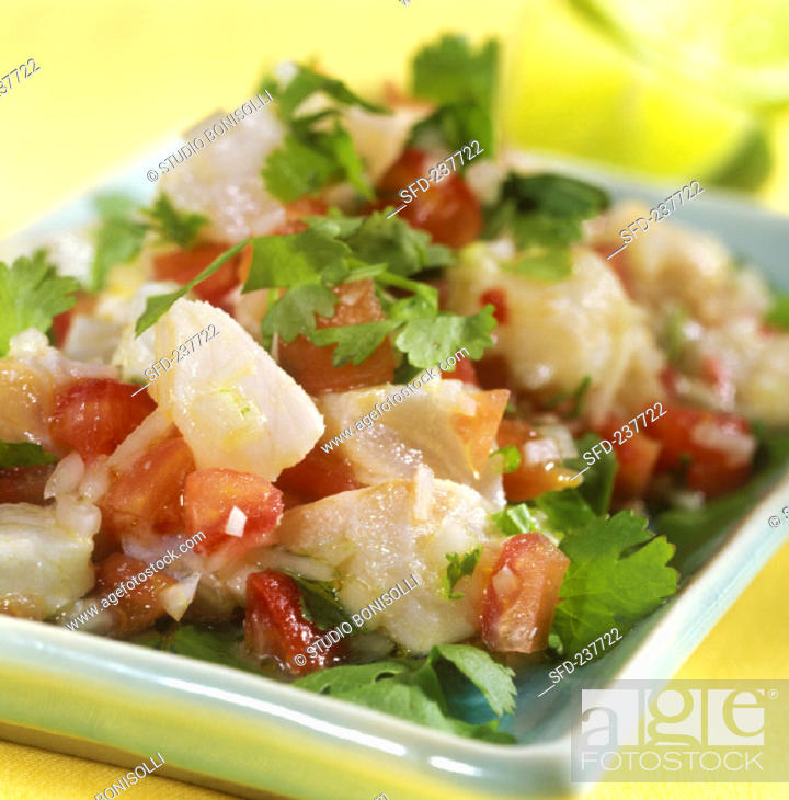 Stock Photo: Ceviche: marinated fish fillet with tomatoes and parsley.