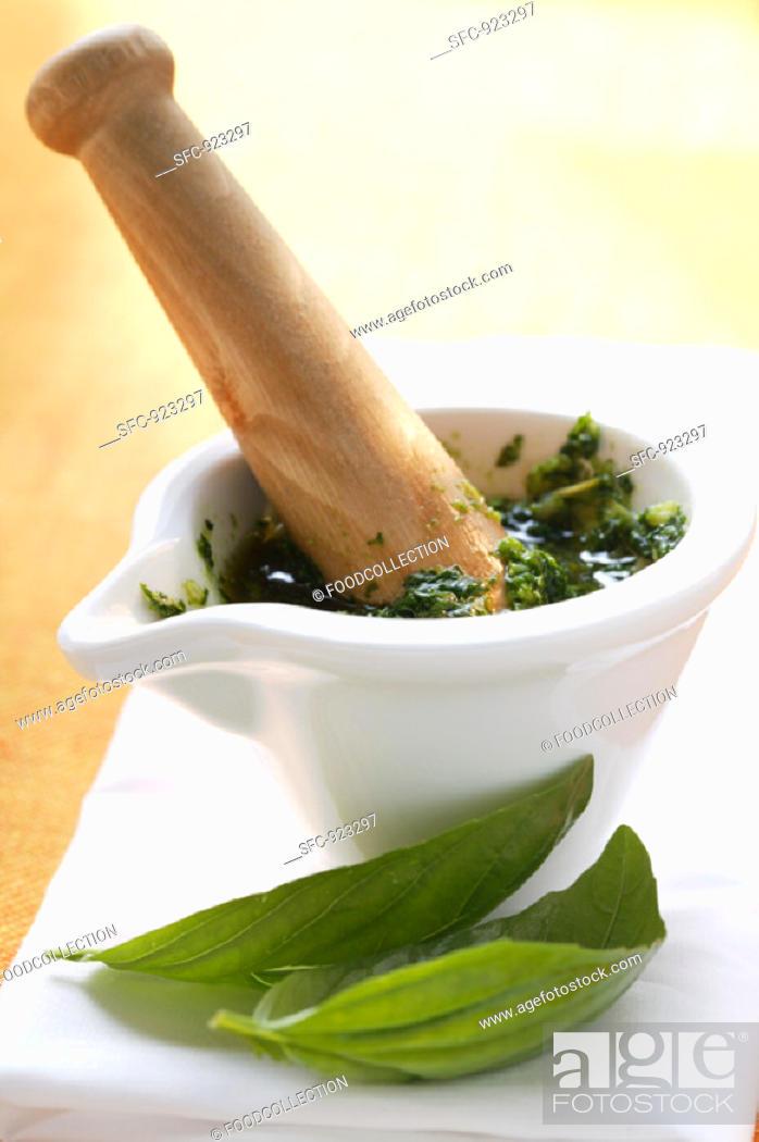 Stock Photo: Pesto in a Mortar.