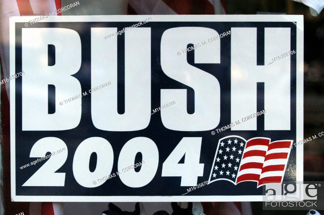 Stock Photo: 2004 presidential campaign: a Bush 2004 poster hangs in the window of a Washington DC business.