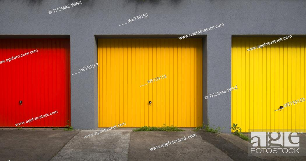 Stock Photo: Three colorful garages in a row , Baden Württemberg , Germany.