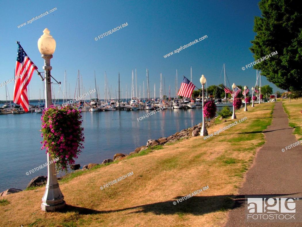 Stock Photo: Bayfield, WI, Wisconsin, Lake Superior, lakefront, marina, harbor, recreation path.