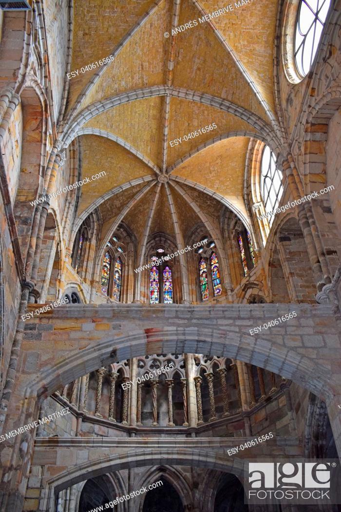 Stock Photo: Church of Santa María de la Asunción in Castro Urdiales Cantabria Spain.