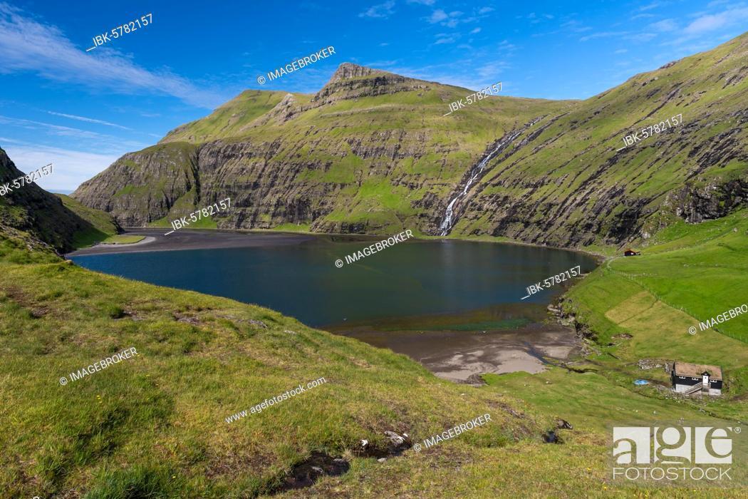 Stock Photo: View of the Pollurin Lagoon, Bay, Saksun, Streymoy, Faroe Islands, Føroyar, Denmark, Europe.