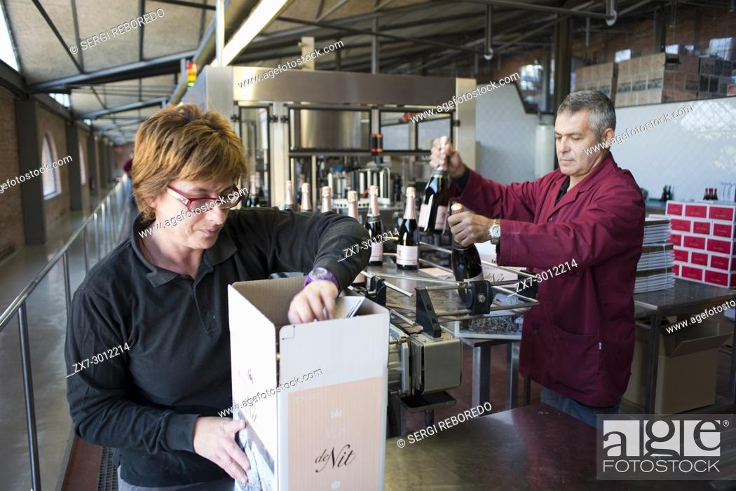 Stock Photo: Inside Raventos winery industry. Sant Sadurni d'Anoia, San Sadurni de Noya. Winery building. Catalonia Spain.