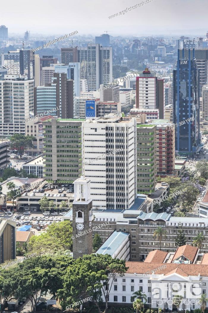 Stock Photo: Africa. Kenya. Nairobi, Modern buildings downtown Nairobi.