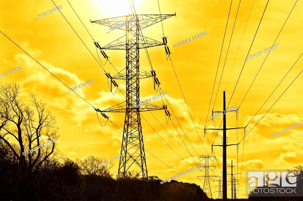 Stock Photo: Power grid silhouetted in HDR.