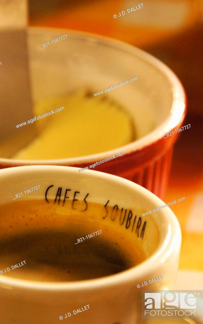 Stock Photo: 'Café Noir' black coffee, Gironde, Aquitaine, France.