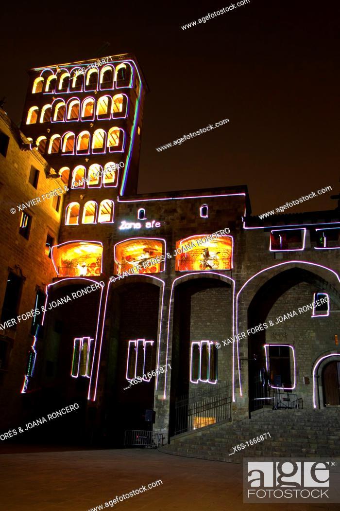 Stock Photo: Lighting in King's square - Plaça del Rei - during the Santa Eulalia celebration in Barcelona, Spain.