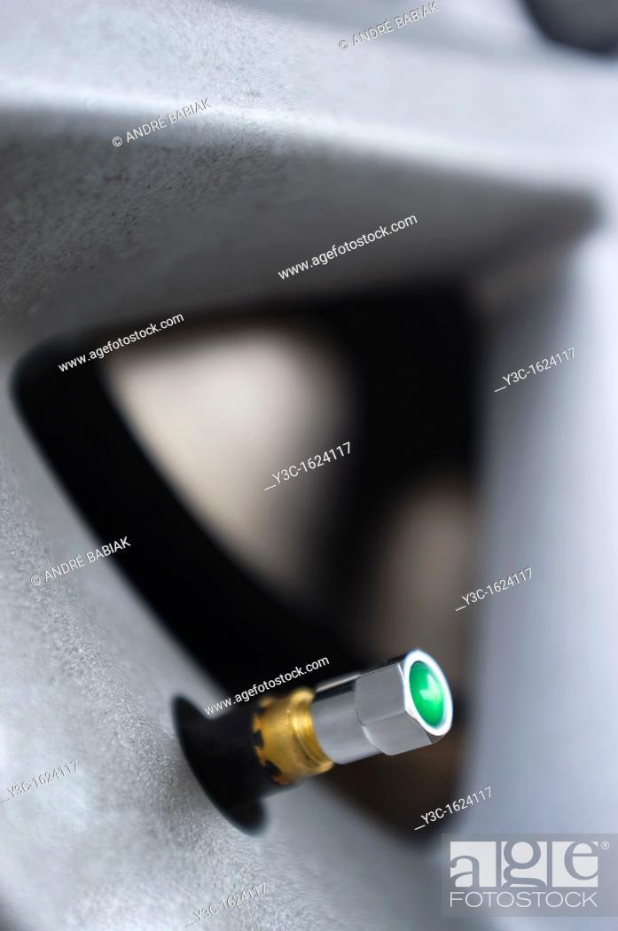 Stock Photo: Green tire pressure monitoring valve cap.