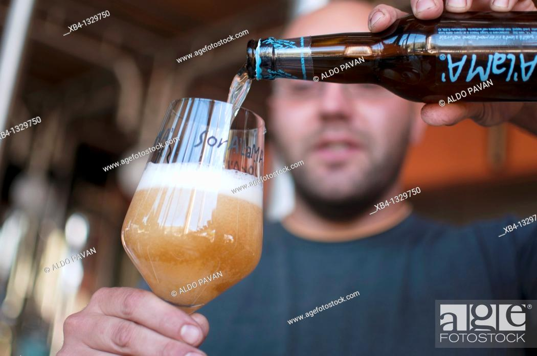 Photo de stock: Italy, Piedmont, Vaie, pouring beer at birrificio Soralamà.