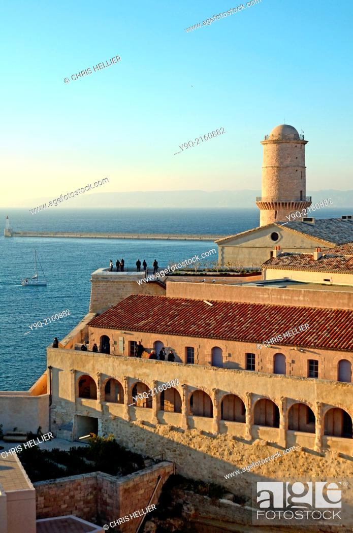 Stock Photo: Fort Saint Jean & Lighthouse at the Entrance to the Vieux Port Marseille France.
