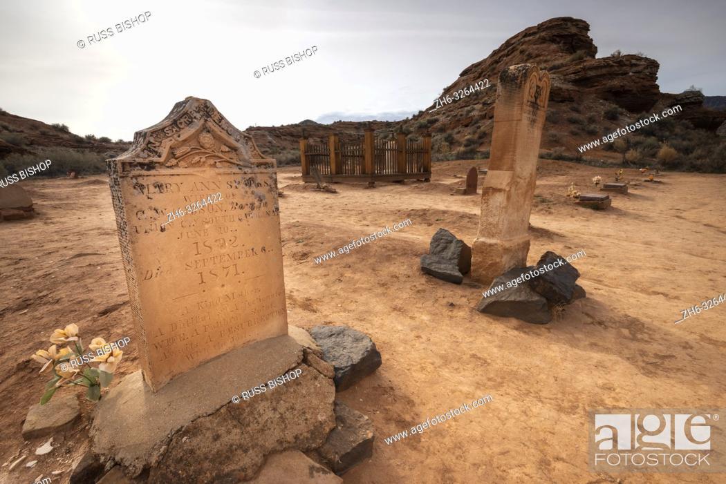 Stock Photo: Tombstones in the Grafton Cemetery, Grafton ghost town, Utah USA.