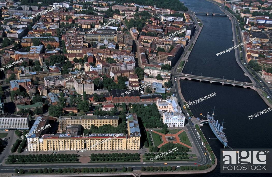 Stock Photo: Russia, St. Petersburg, the Naval Academy and the battleship Aurora, aerial view.