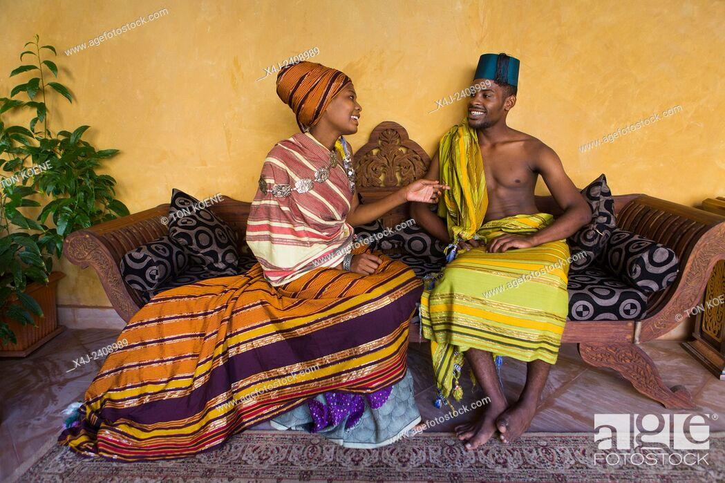 Stock Photo: Miriam Hamid and Hanu Mohammed, young couple in Zanzibar.