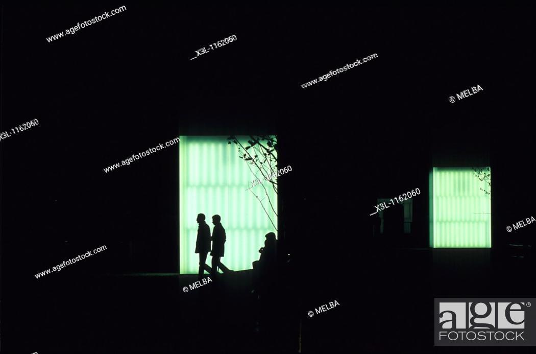 Stock Photo: Silhouette at Baluarte Palace Pamplona Navarre Spain.