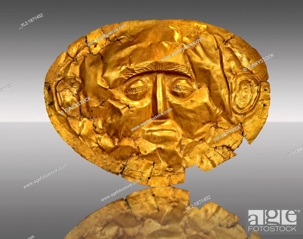 Stock Photo: Gold Death Mask Known from Grave IV, Grave Circle A, Mycenae  16th Century BC  The mask is made of a thin sheet of beaten gold  16th century BC  Cat No 253.