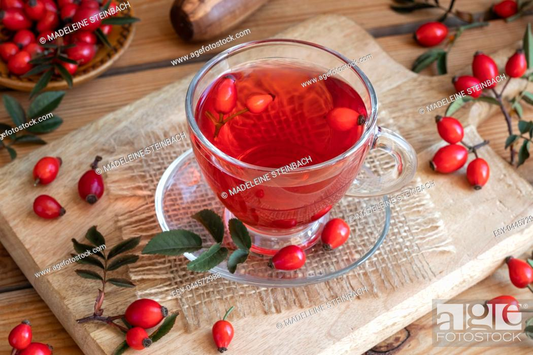 Stock Photo: A cup of rose hip tea with fresh plant on a table.