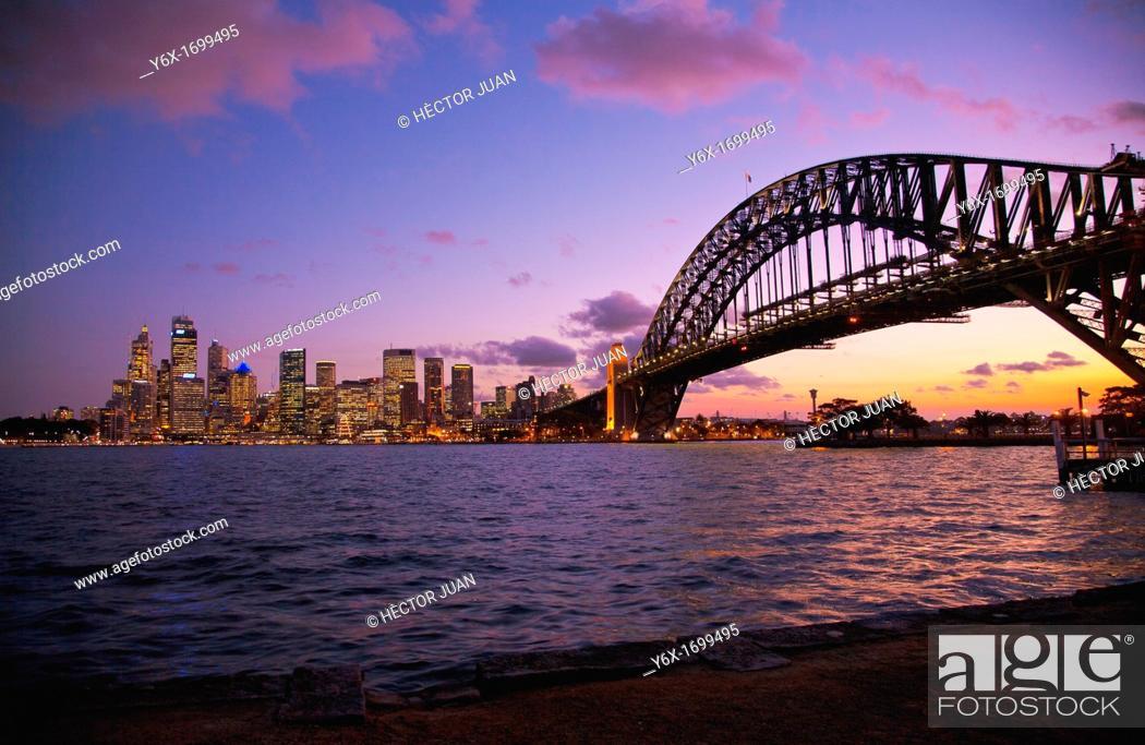 Stock Photo: Sydney Skyline from Jeffrey St Wharf Kirribilli.