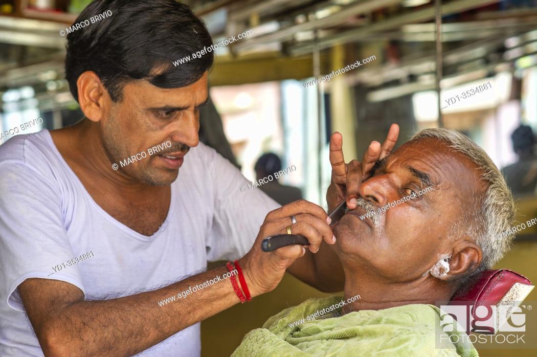Stock Photo: Mandawa Rajasthan India. Barber's shop.