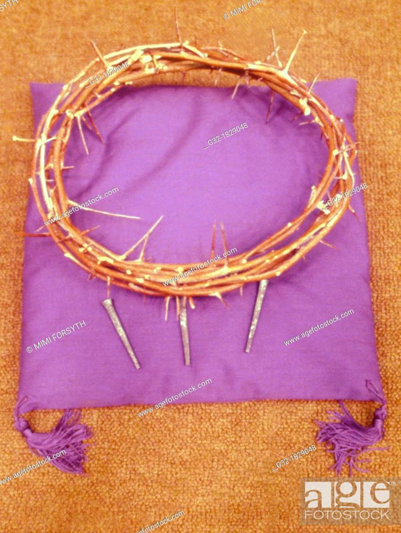 Stock Photo: Crown of thorns, Christian symbolism, Jesus Christ crucified wearing a crown of thorns.