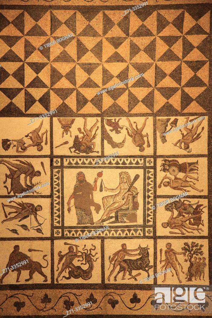 Stock Photo: Spain, Madrid, Archeological Museum, Mosaic with the Labours of Hercules,.
