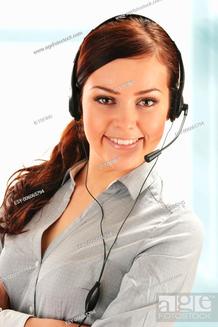 Stock Photo: Call center operator. Customer support. Help desk.