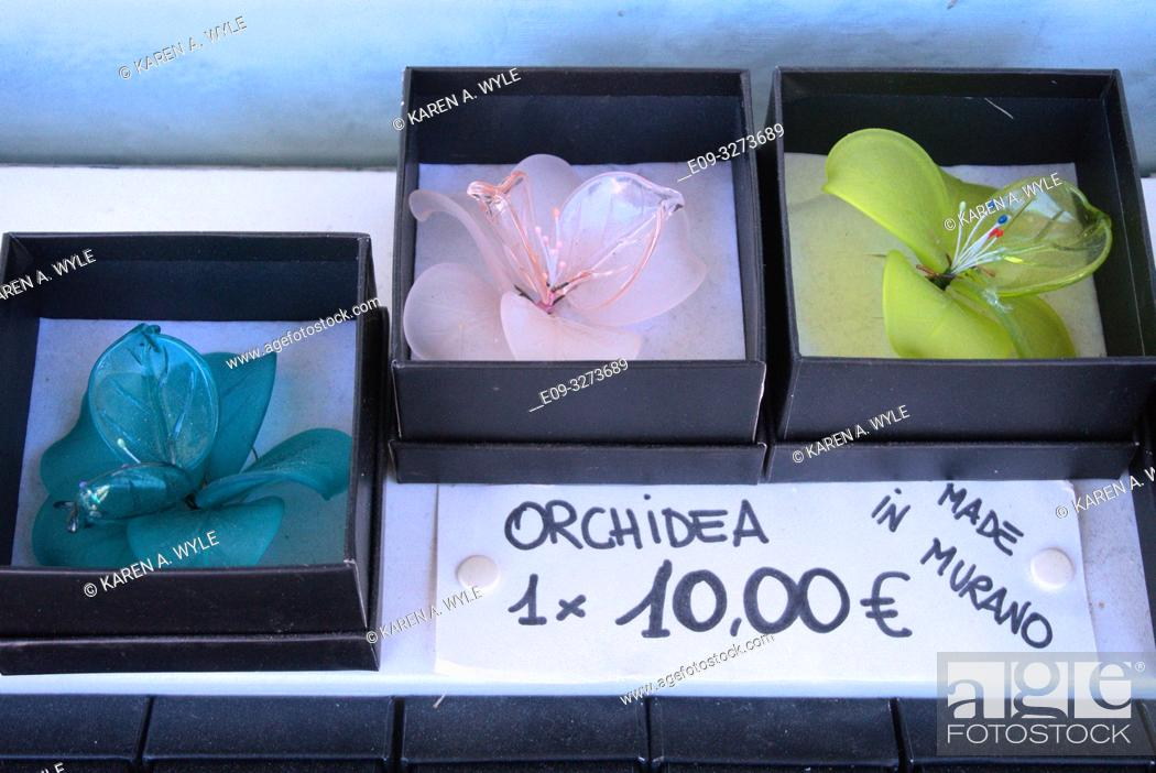 Stock Photo: glass orchids on display at shop on island of Murano near Venice, Italy.