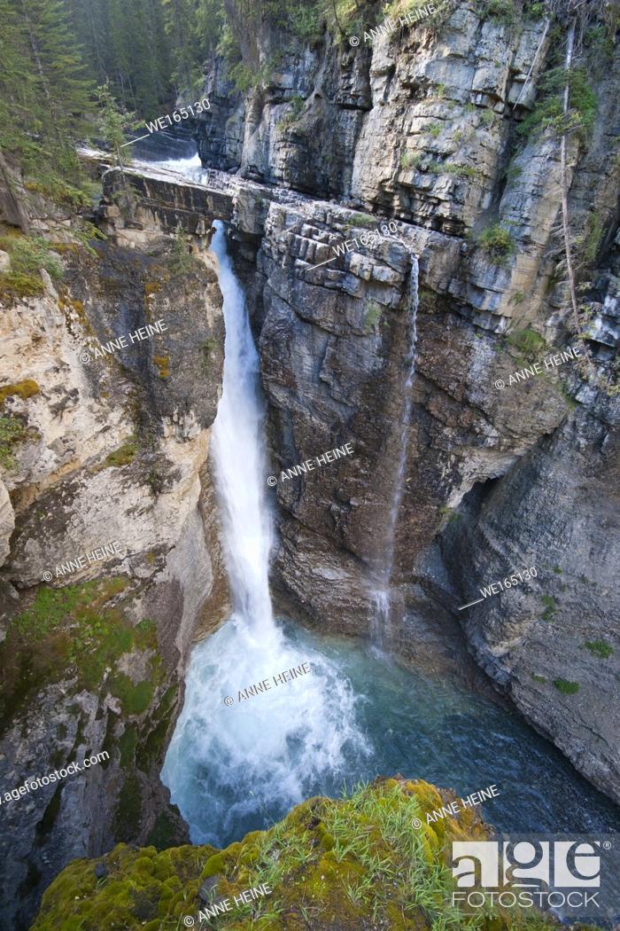 Stock Photo: Johnston Canyon Waterfall seen from high viewpoint looking down. Johnston Canyon, Banff National Park, Alberta, Canada.