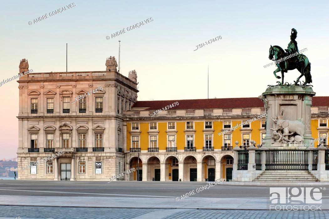 Stock Photo: Plaza of Commerce, Lisbon, Portugal, Europe.